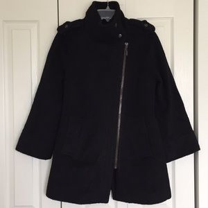 Black wool pea coat with cropped arms